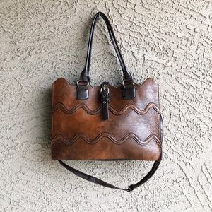 VINTAGE Leather Scalloped Satchel Tote Bag
